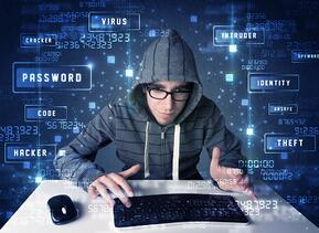 Hacker programing in technology environment with cyber icons and symbols.jpeg